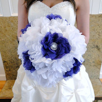 Bridal Brooch Bouquet Extra Large Purple and White Flowers in Chiffon, Organza, Silk, Lace Vintage Shabby Chic Not A Deposit In Stock