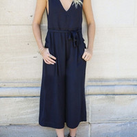 V-neck Sleeveless Plain Wide Leg Cropped Jumpsuit with Belt
