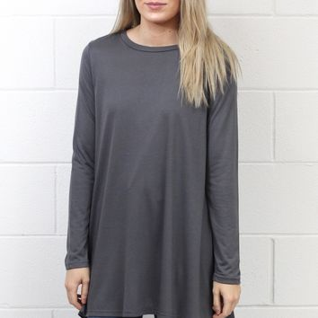 Long Sleeve High Neck Tunic Top {Grey}