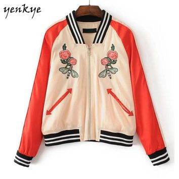 Women Floral Embroidery Jacket Long Sleeve Zipper Stand Collar Loose Bomber Jacket Fashion Hit Color Basic Coats
