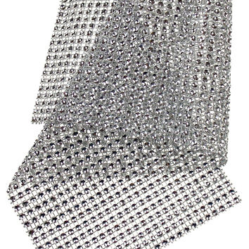Silver Bling Ribbon Mesh 12x35cm Lot 5 Triveni Crafts Wedding Supplies Wrap Vase