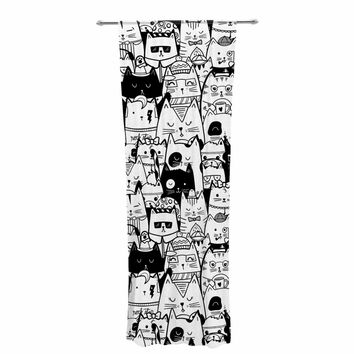 """Noonday Design """"Itty Bitty Kitty Committee"""" Black White Animal Print Animals Illustration Vector Decorative Sheer Curtain"""