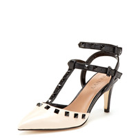 Alexis T-Strap Studded Mid Heel Pump