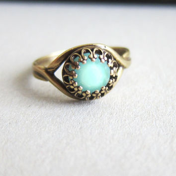 Turquoise Ring Aqua Ring Blue Mint Green Ring Swarovski Crystal Rhinestone Fairy Tale Ocean Winter Nutcracker Mermaid Jewel Ring