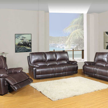 Global United 9345BR-2PC 2 pc Ospray collection brown leather aire upholstered sofa and love seat with recliner ends