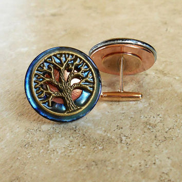 Cufflinks: Tree of Life - Violet and Bronze - Mens Gift - Boyfriend Gift - Anniversary Gift - Celtic Cufflink - Best Man Gift - Mens Jewelry