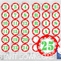 Printable Advent Calendar, Countdown Christmas, Number 1-25 and Letters MARRY CHRISTMAS , DIY red circle label, instant download