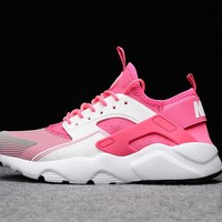 Best Online Sale Nike Air Huarache 1 Rainbow Ultra Breathe Women Pink White Running Sport Casual Shoes Sneakers - 915