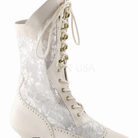 """Dame 115 Lace Panel Victorian Style Calf Boot 2"""" Heel 6-12 Ivory"""