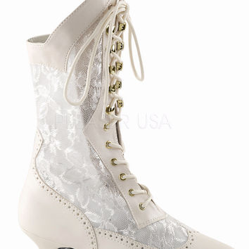 "Dame 115 Lace Panel Victorian Style Calf Boot 2"" Heel 6-12 Ivory"