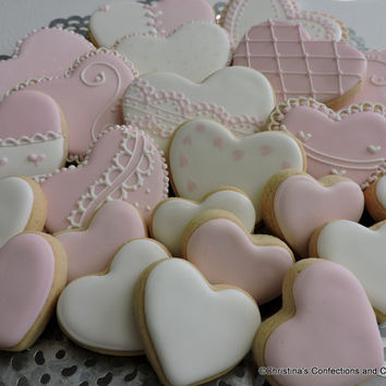 Valentine Heart Cookies - arrangement of 24 Decorated Heart Sugar Cookies in four sizes (#2401)