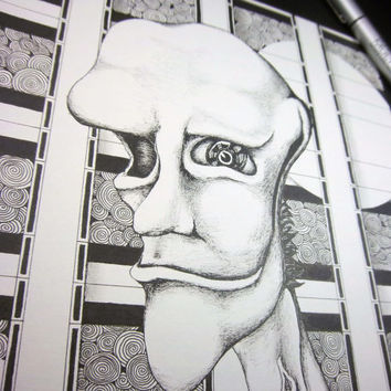 FLOYD: Original art, black and white art, surreal portrait, pen and ink drawing, ink illustration, pen drawing 8x10