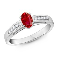 Solitaire Ruby and Channel Diamond Cathedral Ring