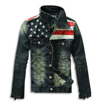 American Flag Distressed Denim Jacket