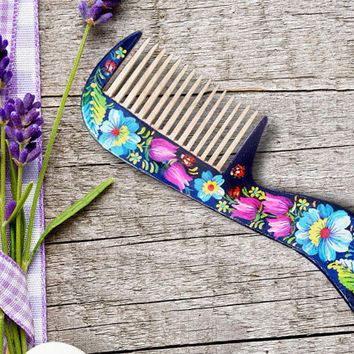 Wooden hairbrush, hand painted, Wood comb Flowers harir brush Woodland haircomb Handmade pear wood hair care blue ladybugs