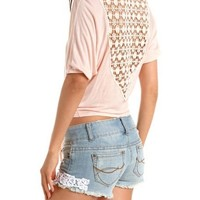 Crochet Back Tie-Front Top: Charlotte Russe