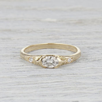 Oval Diamond Ring Bezel Set - Earthy Nature Inspired Engagement Ring in Yellow Gold, White Gold, Rose Gold or Platinum