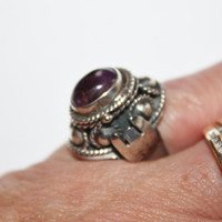 Vintage Taxco Amethyst Ring Sterling Poison 1970s Jewelry