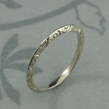 Solid 14K White Gold Fancy Engraved Knife Edge Wedding Band--Vintage Look White Gold Wedding Band--Antique Look Swirl Pattern Embossed Band