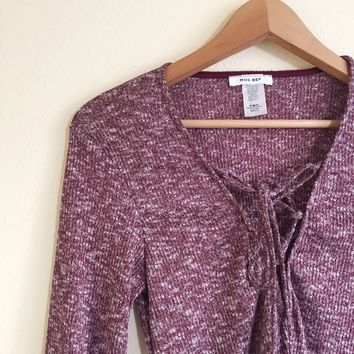 Val Burgundy Speckled Knit Lace Up Top