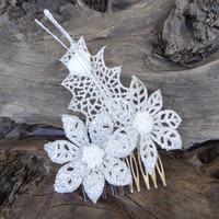 Wedding Hair Comb , Bridal Hair Piece, Bridal Lame Flowers,  Hair Comb, White Flower Hair Comb Romantic, Hair Accessories, Bridesmaid Gifts