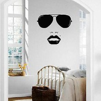 Wall Stickers Vinyl Decal Beautiful Woman Face Fashion Style Glasses Unique Gift ig1624