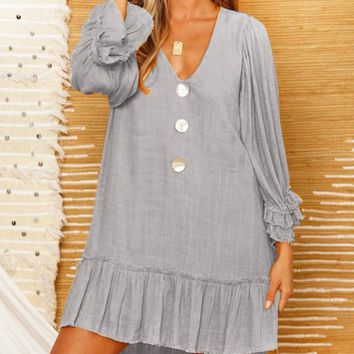 Fashion New Solid Color V-Neck Long Sleeve Dress Women Gray