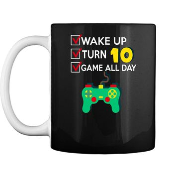 10 Yr Old Boy Game All Day Gamer Birthday Party Shirt Outfit Mug