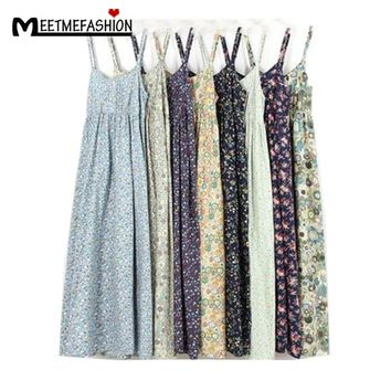 MEETMEFASHION Mori Girl Summer Dress 2018 100% Cotton Vestidos Women Sexy Spaghetti Strap Casual  Beach Dress Women Floral Print