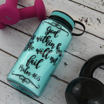 Motivational water bottle - god is within her, she will not fail-  water bottle-water intake meter- water bottle-Inspirational water bottle
