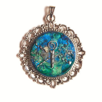 "Pendant ""Dragonfly"", Mixed Media, Necklace Pendant, Blue Turquoise Silver, Metal, Charm, Original Jewellery Jewelry, Butterfly, Chain Amulet"