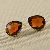 Gold Topaz Color Earrings, Stud Earrings, Fashion, Birthday gift, Mother Gift, Affordable Gift, Fall Trend Under 25 Christmas Gift