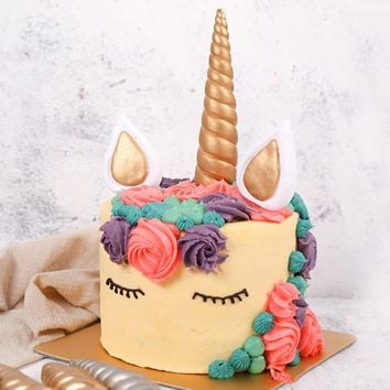 Clay Unicorn Cake Decorations Unicorn Horns Ears Cake Inserts Cupcake Toppers Dessert Table Party Decoration Supplies