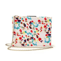Multicolor Statement Clutch Bag With Floral Print