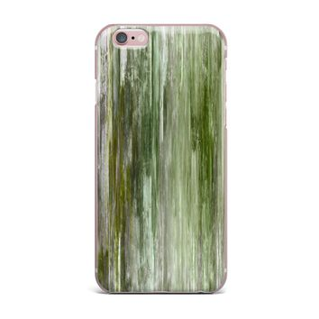 """Ebi Emporium """"Waterfall Blur, Green"""" Green Olive Abstract Stripes Painting Mixed Media iPhone Case"""