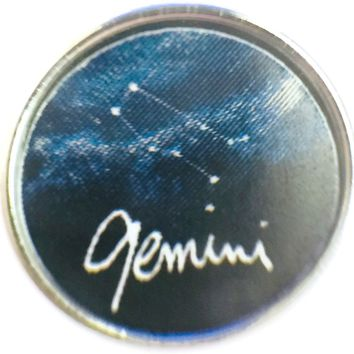 Gemini Zodiac Star Constellation Cosmos Horoscope Symbol 18MM - 20MM Charm for Snap Jewelry New Item