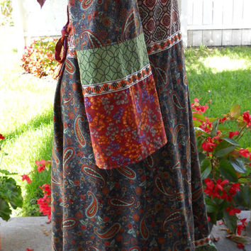 Earthy Celtic Knots & Paisleys Hippie Patchwork Hooded Peasant Dress Long Bell Sleeves with Vintage Renaissance Trim hoodie dress