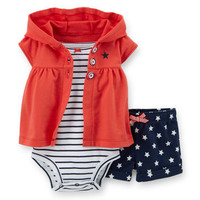 4th Of July 3-Piece French Terry Cardigan Set