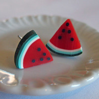 Mini Food Jewelry - Watermelon Wedge Post Earrings - Polymer Clay