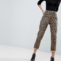 ASOS ORIGINAL MOM Jeans In Leopard Print at asos.com