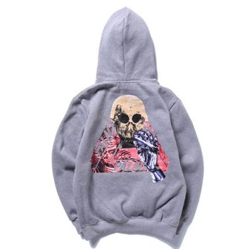 ac NOVQ2A Palace autumn and winter skull triangle printing plus velvet hood hooded sweater Grey