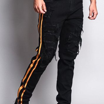 Men's Distressed Double Striped Skinny Jeans