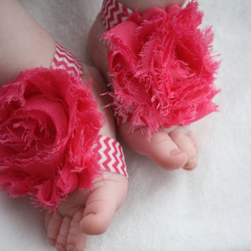 Hot Pink, Coral or Coral Striped Chevron Pretty Piggies (Barefoot Baby Sandals)
