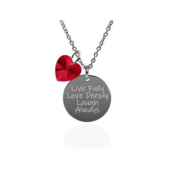 Pink Box Dainty Inspirational Disc Necklace Made With Crystals From Swarovski  - Live Love Laugh
