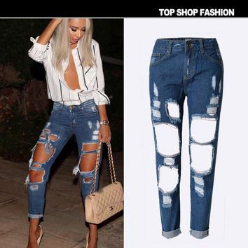 Hot sale fashion Straight beggars big hole loose Dark blue cowboy pants