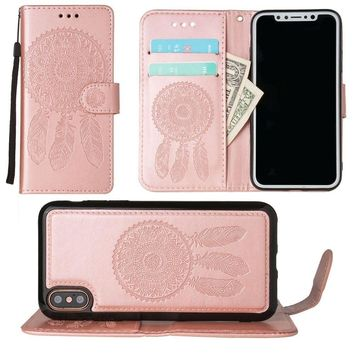 iPhone X Wallet Case, Slim PU Leather Embossed Design with Matching Detachable Cover with Credit Card Holder Wristlet for Women by Cellular Outfitter [Dreamcatcher - Rose Gold]