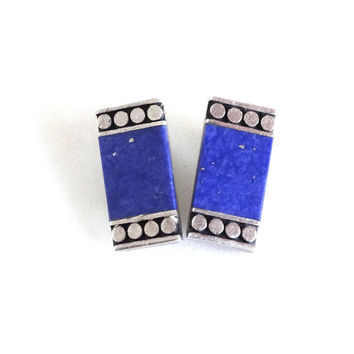 Vintage Lapis Earrings Sterling Silver Blue Lazuli Native American Navajo Marked Southwest Clip Ons