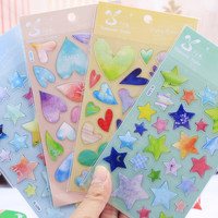 DIY Cute Kawaii Cartoon 3D Scrapbook Paper Stickers Creative Heart Star Sticker For Home Decoration Free Shipping 1047