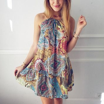 Patterned Camisole Mini Dress
