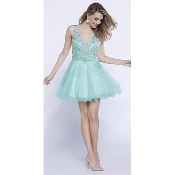 Mint Green Deep V-Neck and Back Beaded Homecoming Dress Short